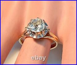 Magnifique bague ancienne or 18 carats Solitaire diamant 2,00 carat 5,09 g