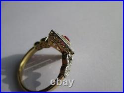 Magnifique bague ancienne pierre rose 72 diamants Or 18 carats & platine 3,9g