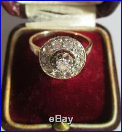 Magnifique bague marguerite ancienne ronde Or massif 18 carats 750