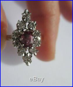 Magnifique bague pompadour ancienne Rubis diamants Or blanc 18 carats 3,7g