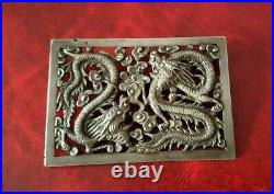Magnifique broche ancienne en argent massif au motif de dragons chinois