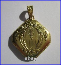 Magnifique médaillon pendentif porte photo ancien Or 18 carats French gold 750