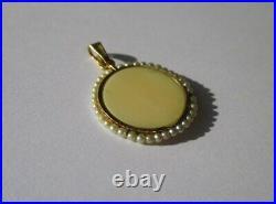 Médaille pendentif ancienne Art Nouveau Vierge perles Or 18 carats Gold charm