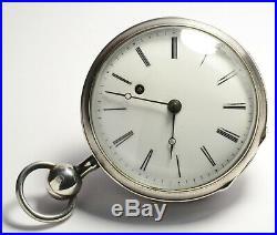Montre Ancienne Gousset Coq A Sonnerie Quart En Argent Silver Verge Pocket Watch