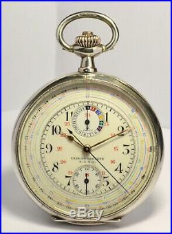 Montre Ancienne Gousset Omega Chronograph Silver 1900 Vintage Pocket Watch