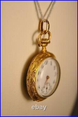 Montre De Col Gousset Ancien Or Massif 18k Emaille Antique Solid Gold Watch