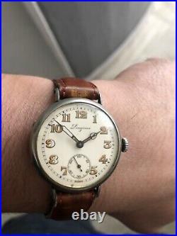 Montre ancienne LONGINES 34mm OFFICIER POILU 13.34 1915 Vintage trench watch