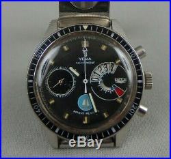 Montre ancienne YEMA YACHTINGRAF regate voilier bleu Valjoux 7733 watch 60's