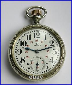 OMEGA, belle montre gousset ancienne, train, montre omega régulateur, en PANNE