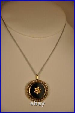 PENDENTIF ANCIEN OR MASSIF 18K ONYX PERLES ANTIQUE SOLID GOLD PENDANT 19th c
