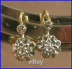 Paire De Boucles D'oreille Anciennes Dormeuses Or Jaune 18k Diamants
