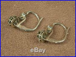 Paire De Boucles D'oreille Anciennes Dormeuses Trembleuses Or Gris 18k Diamants