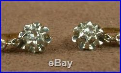 Paire De Boucles D'oreille Anciennes Dormeuses Trembleuses Or Jaune 18k Diamants