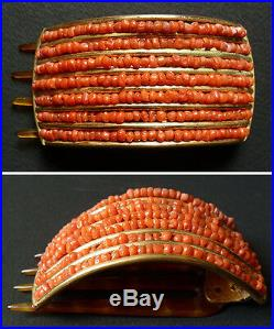 Peigne barrette pour cheveux en corail et métal doré Bijou ancien corallo