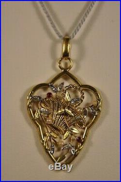 Pendentif Ancien Art Nouveau Or Massif 18k Antique Solid Gold Pendant