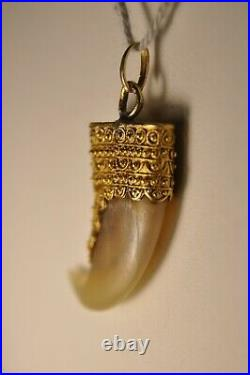 Pendentif Ancien Griffe Or Massif 18k Cannetille Antique Solid Gold Claw Pendant