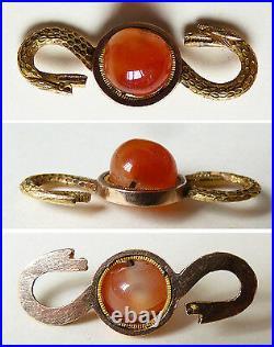 Pendentif Fermoir de collier OR massif et cornaline serpent ANCIEN gold clasp