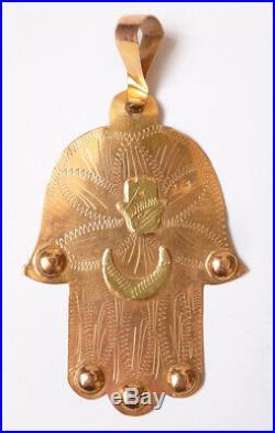 Pendentif Khamsa main de Fatma en OR massif 18k ancien gold jewel orfèvre A-F