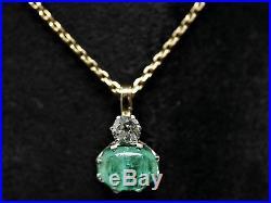Pendentif Or / Emeraude Cabochon + Diamant Taille Ancienne