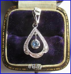 Pendentif ancien Art Déco Saphir de Ceylan Or 18 carats French gold charm 750