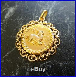 Pendentif ancien Zodiaque Bélier en or 18 K poincon Tete d aigle