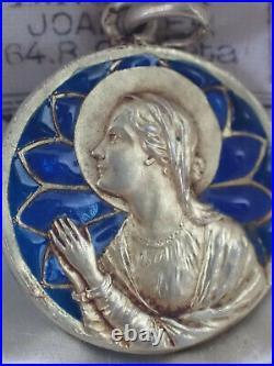 Pendentif ancien émail Plique à Jour Argent Vermeil or jaune fin 19 e siècle