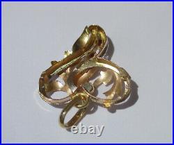 Pendentif ancien français XIXe cur Amour pierres or tricolore 18 carats 750