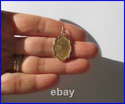 Pendentif ancien gravé fleur or rose massif 18 carats French gold charm 750