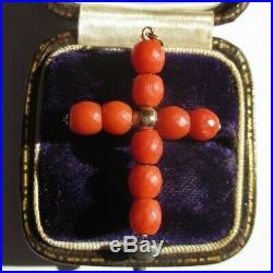 Pendentif croix ancienne XIXème or 18 carats Corail facetté h3,5cm Gold 750