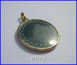 Pendentif médaille ancien émail Vierge à lEnfant guilloché or 18 carats 3,3g
