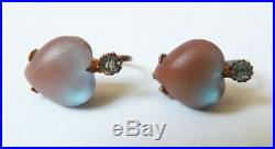Petites boucles d'oreille métal doré coeur Saphiret bijou ancien earrings heart
