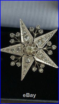 Promo Noel Ancienne Broche Etoile Or 18 K Argent/diamants // Epoque XIX Eme