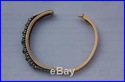 Promo Rare Bracelet Ancien Jonc Rigide Or 18 K /argent/ Diamants / Emeraudes