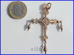 RARE! BELLE CROIX REGIONALE ANCIENNE MILIEU XIXème en Plaqué or rose / Ht 6,5cm