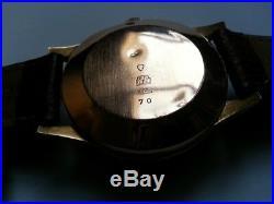 RARE SUPERBE ancienne MONTRE HOMME ELVIA Chronographe en OR 18K BRACELET CUIR
