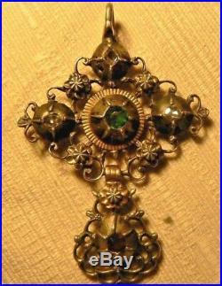 Rare Belle croix Papillon ancienne argent et OR sertie DIAMANT 18 XVIII e siecle