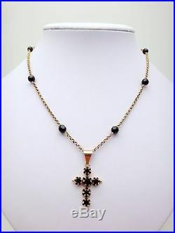 Rare ancien collier or 18k et jais avec croix Jeannette XIXeme fermoir émaillé