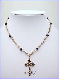 Rare ancien collier or 18k et jais avec croix Jeannette XIXeme fermoir émaillé 2