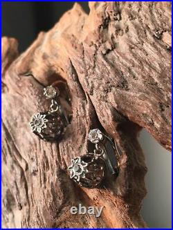 Rare ancienne boucles d'oreille Dormeuse Argent Fermoir OR 18k 750 Napo III