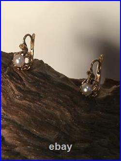 Rare ancienne boucles d'oreille Dormeuse OR 18k 750 Napo III