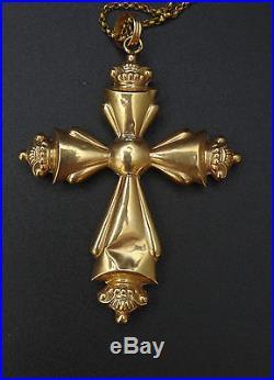 Rare ancienne grande croix régionale Auvergnate et son coulant en or 18k XIXe