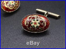 Rare anciens boutons de manchette en argent vermeil et émaux Bressans