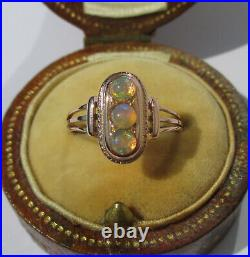 Rare bague ancienne XIXe trilogie opales or rose massif 18 carats French 750