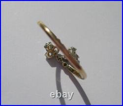 Rare bague ancienne française charme trèfles diamants rubis or massif 18 carats