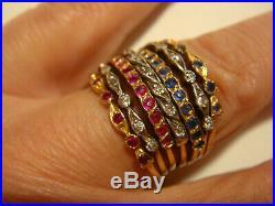 Rare bague ancienne semainier rubis saphirs diamants or 18 k