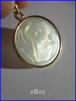 Rare médaille pendentif ancienne Sainte Thérèse Nacre & or 18 carats Gold 750