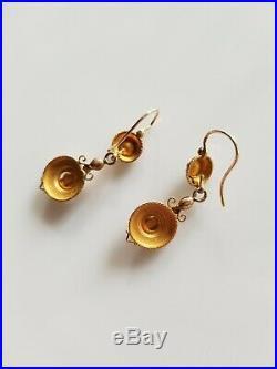 Rare paire de boucles doreille anciennes dormeuses pendantes en or 18K XIXe