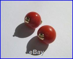 Rares boucles doreilles dormeuses anciennes Corail perles Or 18 carats 750