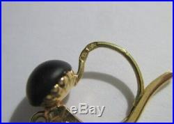 Rares boucles doreilles dormeuses anciennes Jais Corail Or 18 carats 750