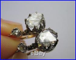 Rares boucles doreilles dormeuses trembleuses anciennes Diamants Or 18 carats
